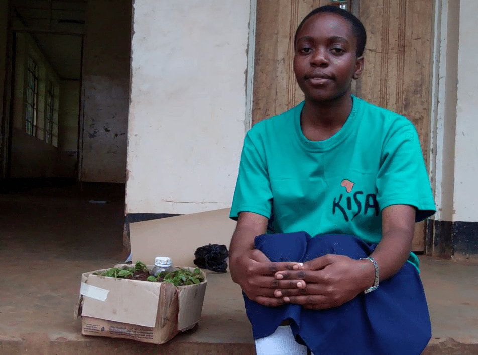 Kisa Scholar sitting with irrigation model in a box.
