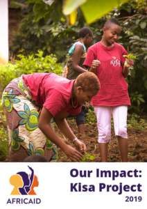 Impact report cover with girls in red t-shirt picking up vegetables | Denver, CO | AfricAid